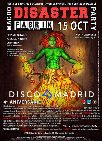 Cartel Disaster Party Fabrik 15 octubre 2016
