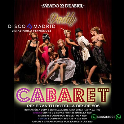 Flyer Cabaret Daddy 22 abril 2017