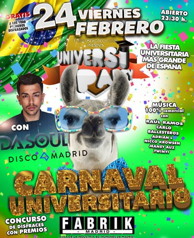 Flyer Carnaval Fabrik UniversiParty 2017