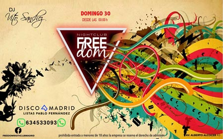 Flyer discoteca Freedom 30 abril 2017