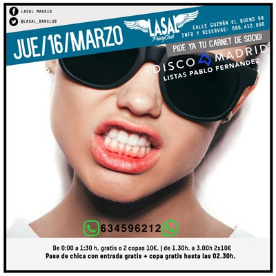 Flyer Discoteca Lasal Bar Club 16 marzo 2017