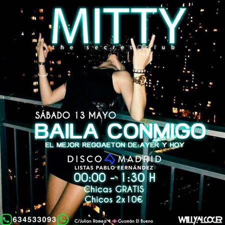 Flyer discoteca Mitty 13 mayo 2017