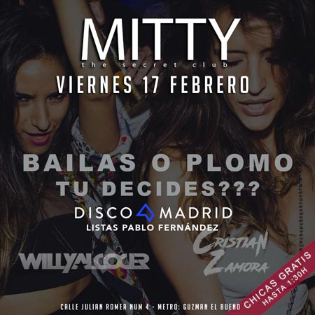 Flyer discoteca Mitty 17 febrero 2017