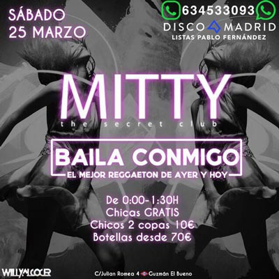 Flyer discoteca Mitty 25 marzo 2017