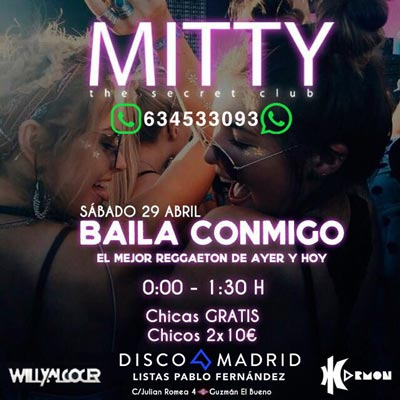 Flyer Discoteca Mitty 29 abril 2017