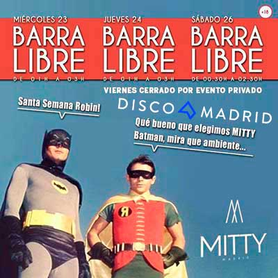 Flyer Discoteca Mitty Madrid semana santa 2016