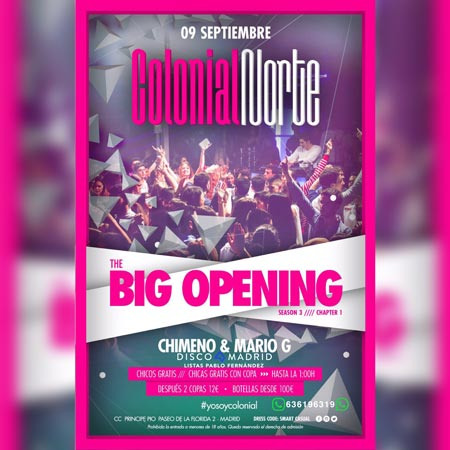 Flyer Opening Colonial Norte 9 septiembre 2017