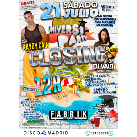 Flyer UniversiParty Fabrik 21 julio 2018