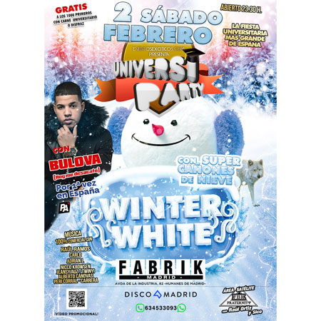 Flyer UniversiParty Winter White 2 febrero 2019