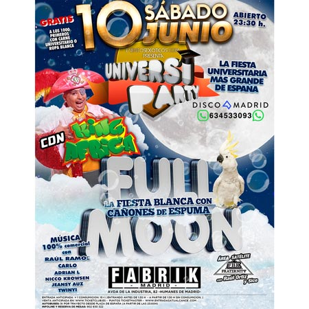 UniversiParty Full Moon 10 junio 2017
